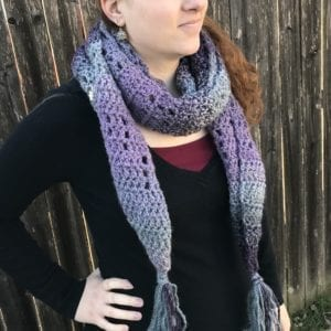 Purple/Blue Gradient Scarf Wrapped Around a Neck