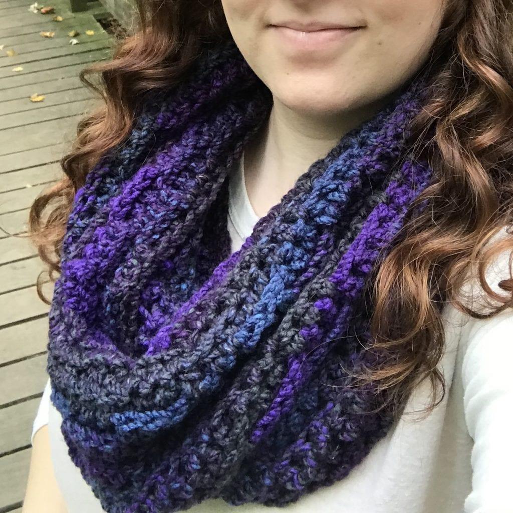 purple blue crochet cowl
