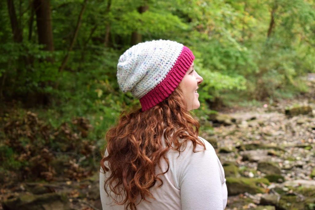 crochet slouchy beanie on head