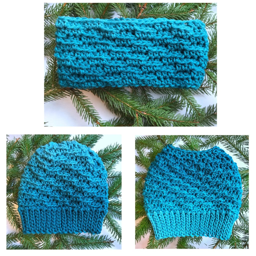 a beanie, messy bun hat and earwarmer all using the same crochet stitch