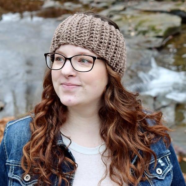 woman wearing crochet earwarmer