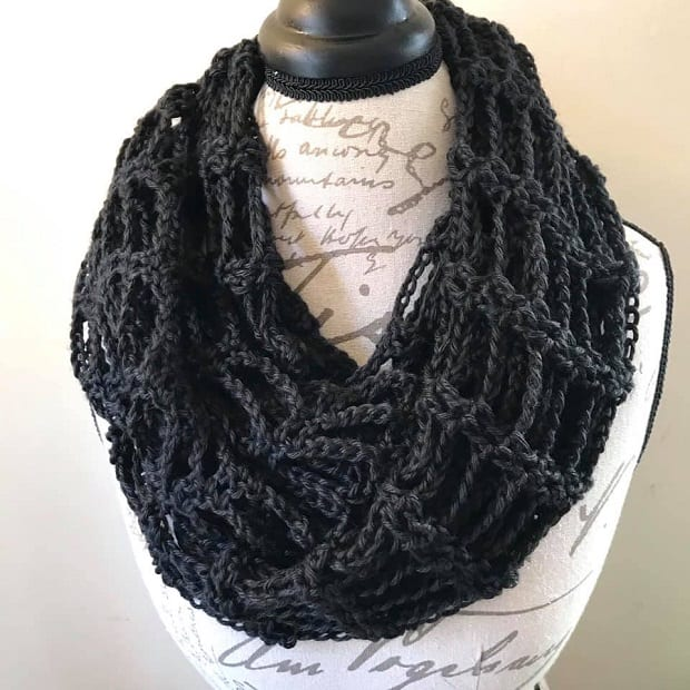 Black crochet infinity scarf with open stitch work