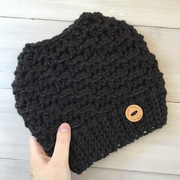Crochet Messy Bun Hat In Black Yarn
