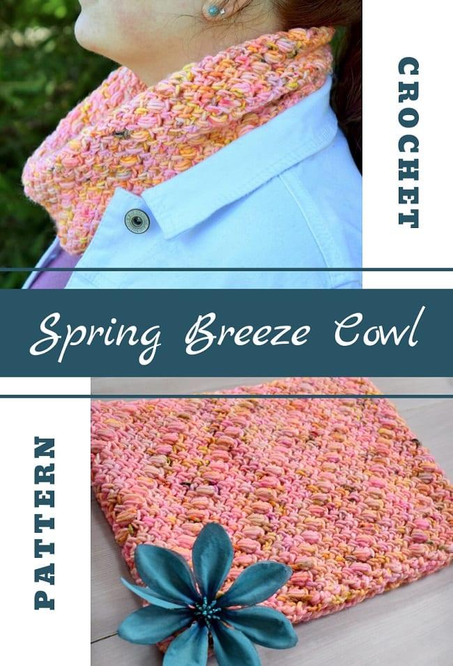 spring breeze cowl crochet pattern pinterest image
