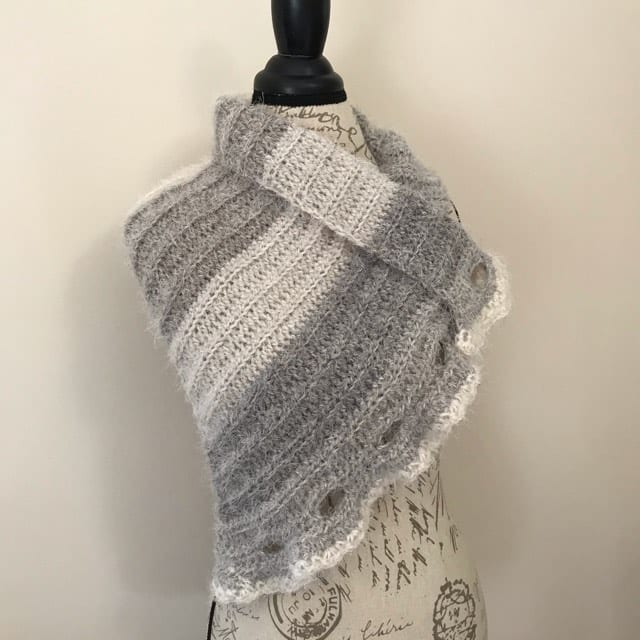 waterfall wrap scarf openly displayed on torso