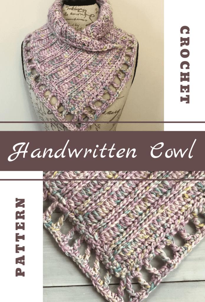 handwritten cowl crochet pattern pinterest image