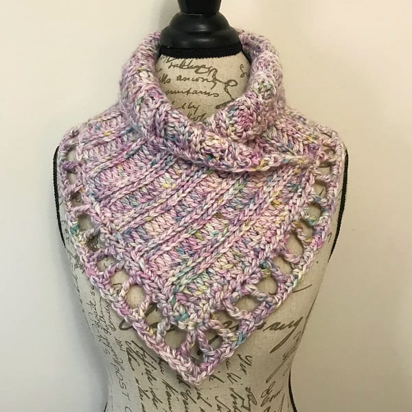 textured crochet cowl displayed on torso