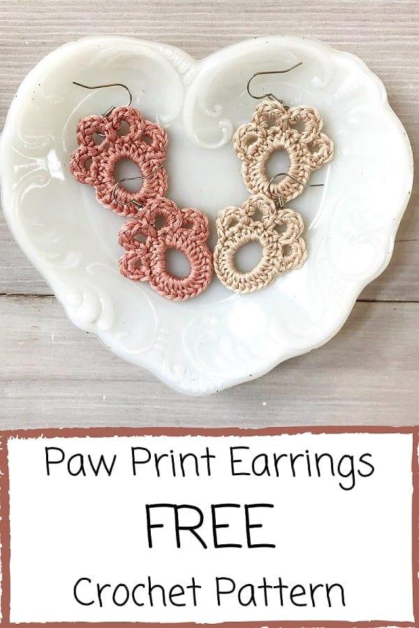 crochet paw print earrings pinterest image