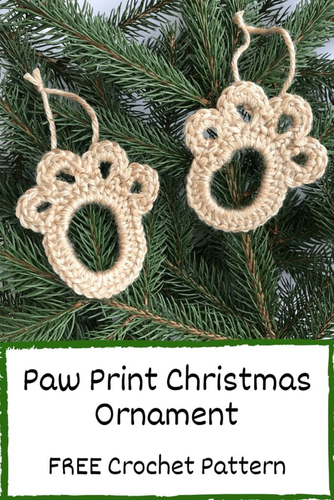 crochet paw print christmas ornament pinterest image